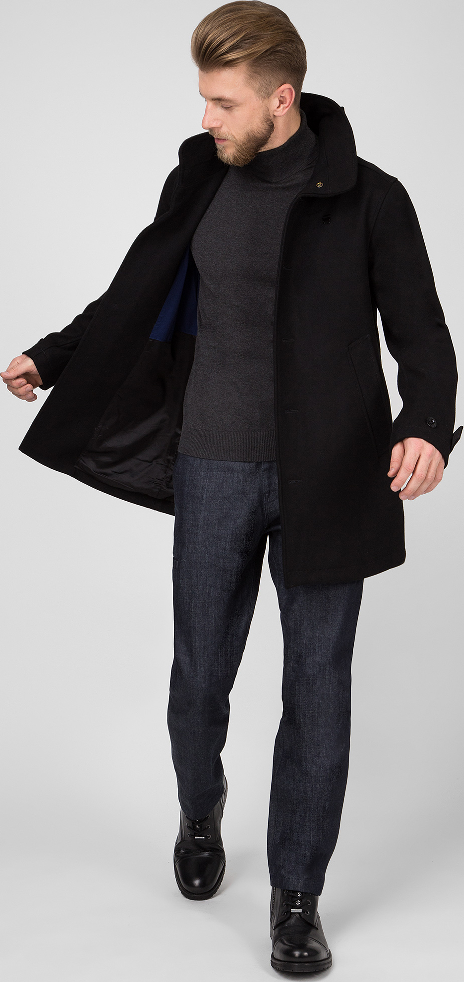 Пальто G-Star RAW Garber empral wool trench D10295.9168.6484 M Черное  (8719764173685 7cc66e14c6307