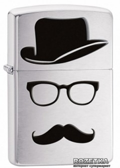 Зажигалка Zippo Top Hat Glasses And Mustache (28648)