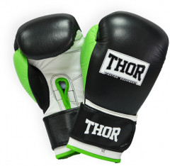 Перчатки боксерские Thor Typhoon (Leather) 14 унций Black/Green/White (8027/01(Leather) B/GR/W 14 oz.)