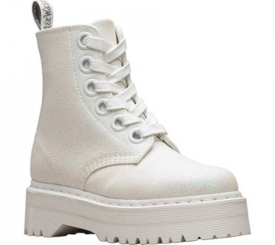 3e6993784 Женские ботинки Dr. Martens Molly 8-Eye Boot Iridescent White Glitter  Polyurethane 41 (