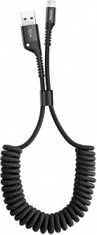 Кабель Baseus Fish-eye Spring Cable USB – Lightning 1м 2.0A Black (CALSR-01)