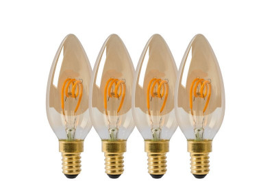 Светодиодная лампа Lucide 49043/14/62 Lamp Led Filament Candle 4X 3W 115M 2200K Amber