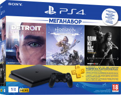 PlayStation 4 1TB Black (CUH-2208B) Bundle + Horizon Zero Dawn. Complete Edition + Detroit + The Last of Us + PSPlus 3 месяца (PS4)