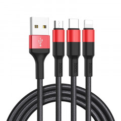 USB Кабель Hoco X26 Xpress 3in1 lightning -microUSB-Type-C 1м черно-красный (30888)