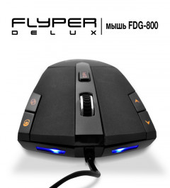 "Мышь Flyper Deluxe FDG-800 USB, Black, оптическая, Game design, Rubber, ""4pcs Razer light"", zoom, Bu"