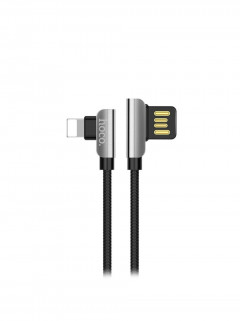 Кабель USB Hoco U42 Exquisite Steel iPhone Lightning (L Shape) Black 1.2m