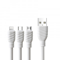 Кабель USB Awei CL-986 3in1 iPhone Lightning/MicroUSB/Type-C White