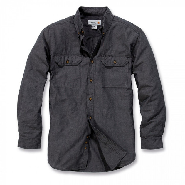 Рубашка Carhartt L/S Fort Solid Shirt - S202 (Black Chambray, S)