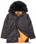 Парка Alpha Industries Slim Fit N-3B Parka M Black/Orange