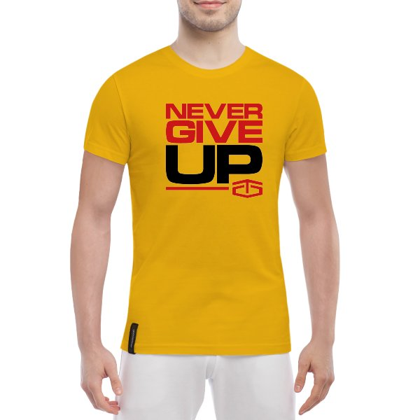 Мужская футболка tapout never give up Желтый S (70389)