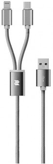 Кабель Rock 2 in 1 charging cable w/version D/USBA TO type-c to lightning/ 1,2M Tarnish
