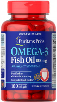 Жирные кислоты Puritan's Pride Omega-3 Fish Oil 1000 мг 100 капсул (074312138324)