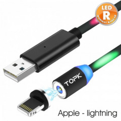 Кабель магнитный USB TOPK LED R-line Apple-lightning 120 см Black