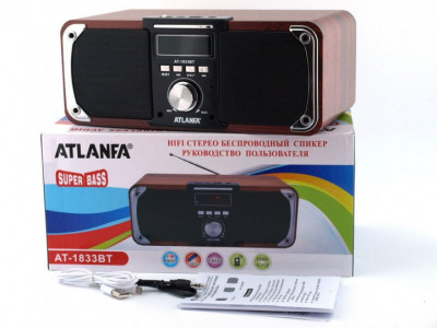 Портативна Колонка FM акустична Atlanfa AT-1833BT 12W Super Bass (00418)