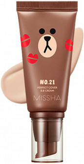 BB крем для лица Missha Line Friends 2018 Perfect Cover BB Cream No.21 Light Beige 50 мл (8809581477865)