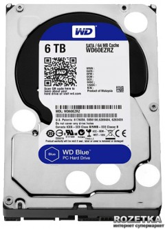 Жесткий диск Western Digital Blue 6TB 5400rpm 64MB WD60EZRZ 3.5 SATAIII
