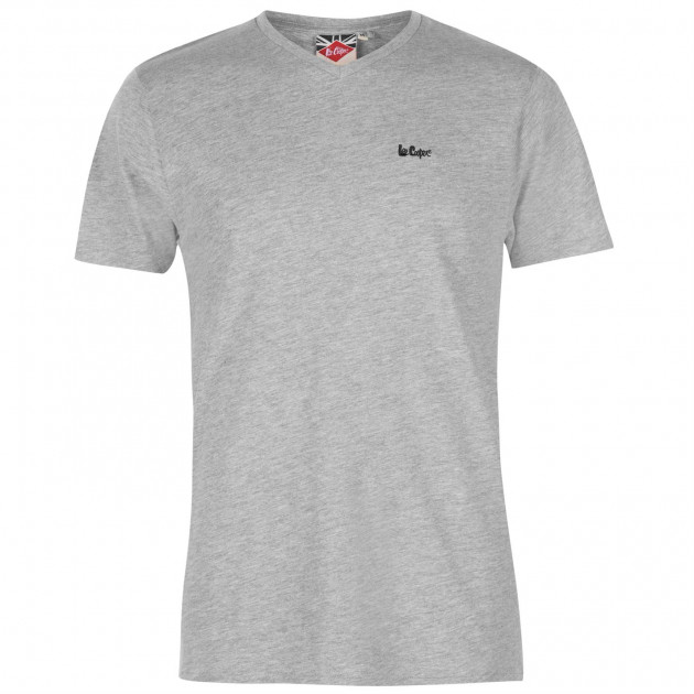 Футболка Lee Cooper Essentials V Neck T Shirt Mens M Серый (68800525390)
