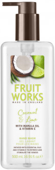 Мыло жидкое для рук Grace Cole Fruit Works Hand Wash Coconut & Lime 500 мл (5055443694922)