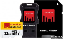 Strontium MicroSDHC 32GB Class 10 UHS-I Nitro 466x + SD adapter + USB Card Reader (SRN32GTFU1C)
