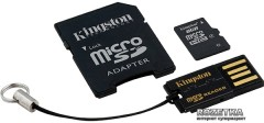 Kingston MicroSDHC 8GB Class 4 + SD-adapter + USB-reader (MBLY4G2/8GB)