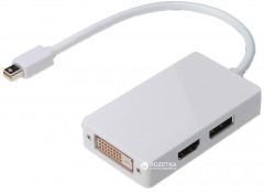 Адаптер Digitus mini DisplayPort - DisplayPort/HDMI/DVI 0.2 м White (AK-340509-002-W)