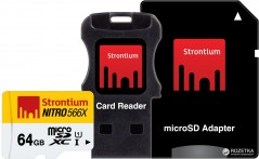 Strontium MicroSDXC 64GB Class 10 UHS-I Nitro 566x + SD adapter + USB Card Reader (SRN64GTFU1C)