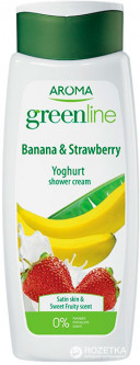 Крем-гель для душа Aroma Greenline Yoghurt Shower Cream Banana&Strawberry 400 мл (3800013536285)