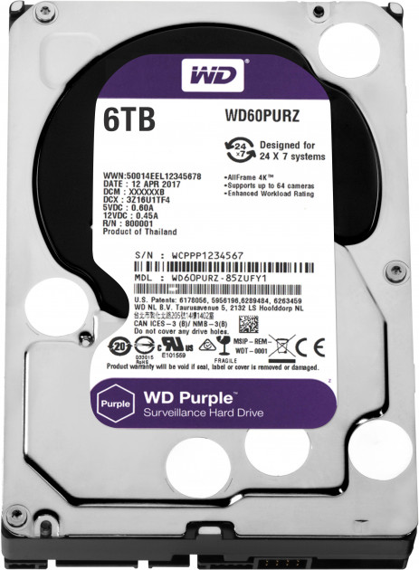 Жорсткий диск Western Digital Purple 6TB 64MB 5400rpm WD60PURZ 3.5 SATA III - зображення 1