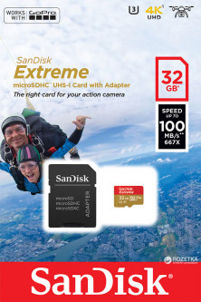 Sandisk microSDHC 32GB Extreme Action A1 Class 10 V30 UHS-I U3 (SDSQXAF-032G-GN6AA)