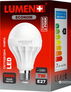 Светодиодная лампа LUMEN Econom LED E27 7W 12 pcs WW BL02 (CP-BL02-7WC-3000K-E27)