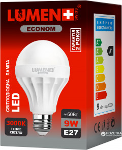 Светодиодная лампа LUMEN Econom LED E27 9W 15 pcs WW BL02 (CP-BL02-9WC-3000K-E27)