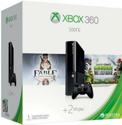 Xbox 360 E 500GB + Fable Anniversary + Plants vs Zombies: Garden Warfare (3M4-00012)