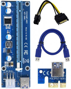 Адаптер-райзер Dynamode PCI-E x1 to 16x, 60 см USB 3.0 Cable SATA to 6Pin Power ver.006C (RX-riser-006c 6 pin)