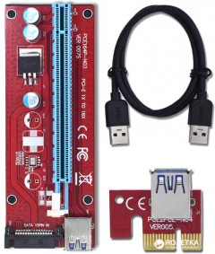 Адаптер-райзер Dynamode PCI-E x1 to 16x, 60 см USB 3.0 Cable, 15Pin SATA Power ver.007S (RX-riser-007S 15 pin)