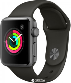 Apple Watch Series 3 GPS 38mm Space Grey Aluminium Case with Grey Sport Band (MR352FS/A)