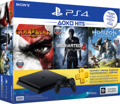 PlayStation 4 Slim 500GB Rus Black Bundle (CUH-2108A) + Horizon Zero Dawn + Uncharted 4: Путь вора + God of War 3 + PSPlus 3 месяца