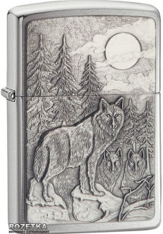 Зажигалка Zippo Timberwolves Emblem Brushed Chrome Timberwolves 20855