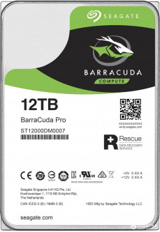 Жесткий диск Seagate BarraCuda Pro HDD 12TB 7200rpm 256MB ST12000DM0007 3.5 SATA III