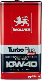 Моторное масло Wolver Turbo Plus 10W-40 5 л (4260360940996)