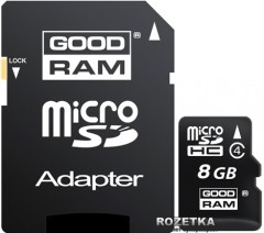 Goodram MicroSDHC 8GB Class 4 + SD-adapter (M40A-0080R11)