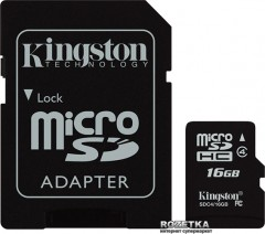 Kingston MicroSD 16GB Class 4 + SD-adapter (SDC4/16GB)