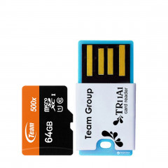 Team MicroSDXC 64GB UHS-I Team + USB-reader TR11A1 (TUSDX64GUHS29)