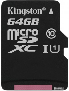 Kingston microSDXC 64GB Canvas Select Class 10 UHS-I U1 (SDCS/64GBSP)