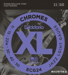 D'Addario ECG24 Steel XL Chromes Flat Wound Jazz Light (11-50)