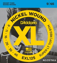 D'Addario EXL125 Nickel XL Super Light Top/Regular Bottom (9-46)