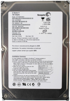 Жесткий диск Seagate HD 160GB 5400rpm 2MB ST3160022ACE 3.5 IDE Refurbished