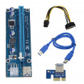 Райзер Mirkit Powered Riser Cable PCI-E 16x to 1x 6 pin PCIe & SATA with USB 3.0 Blue v006с