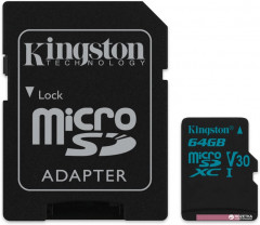 Kingston microSDXC 64GB Canvas Go! Class 10 UHS-I U3 + SD-адаптер (SDCG2/64GB)