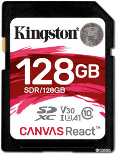 Kingston SDXC 128GB Canvas React Class 10 UHS-I U3 V30 (SDR/128GB)