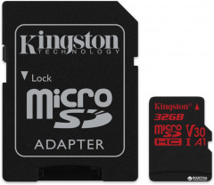 Kingston microSDHC 32GB Canvas React Class 10 UHS-I U3 V30 + SD-адаптер (SDCR/32GB)